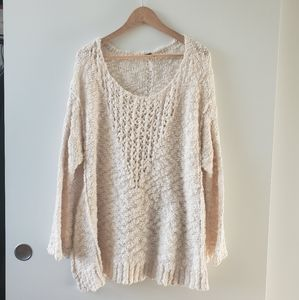 Free People Cream Knit Oversized Cotton Sweater